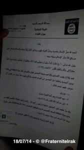 lettre envoyée aux chrétiens de Mossoul