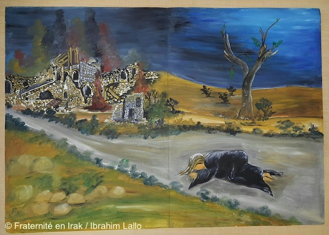 toile-ibrahim-lallo-exode-mission-artistique-fraternite-en-irak-fevrier-2016-FB