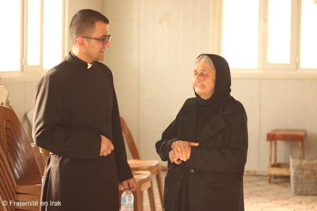 Father Rony visits the elderly.