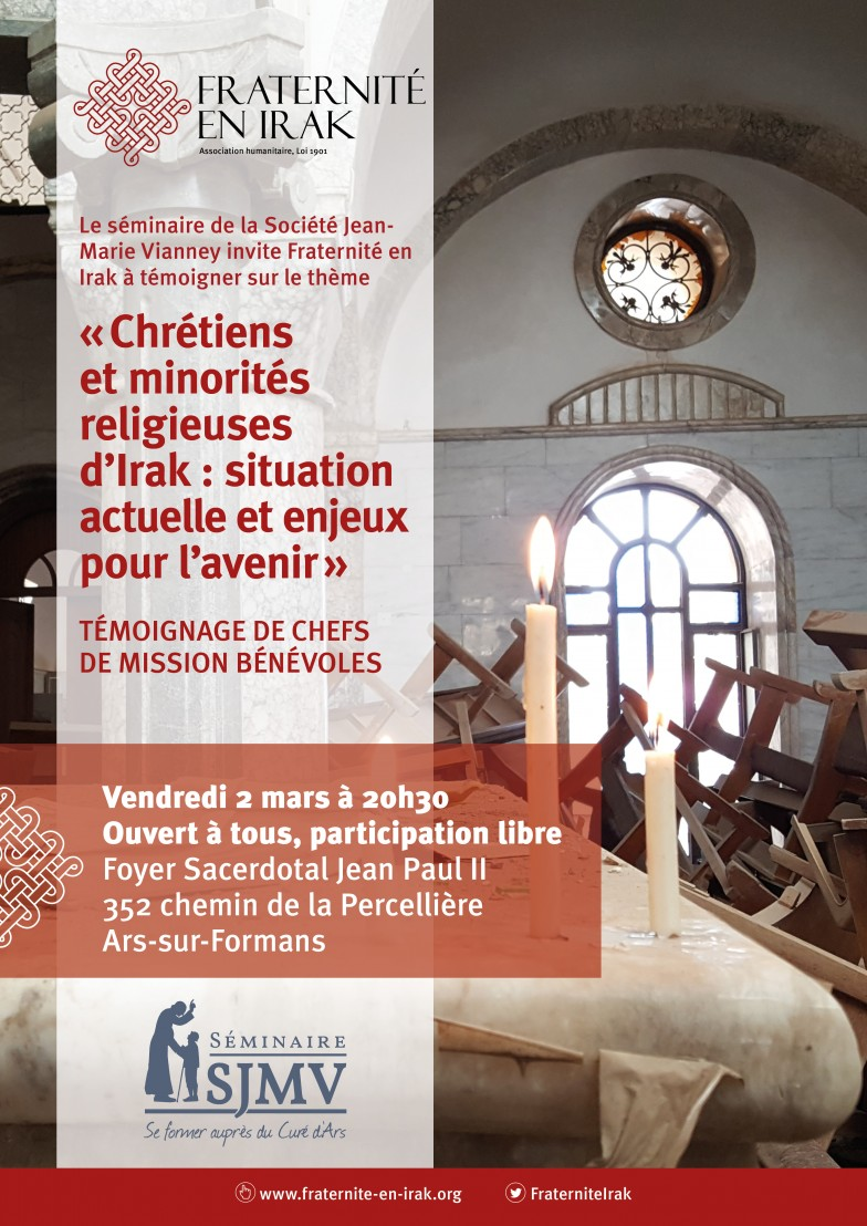 ARS – 2 mars – Conférence «Chrétiens et minorités religieuses d'Irak»