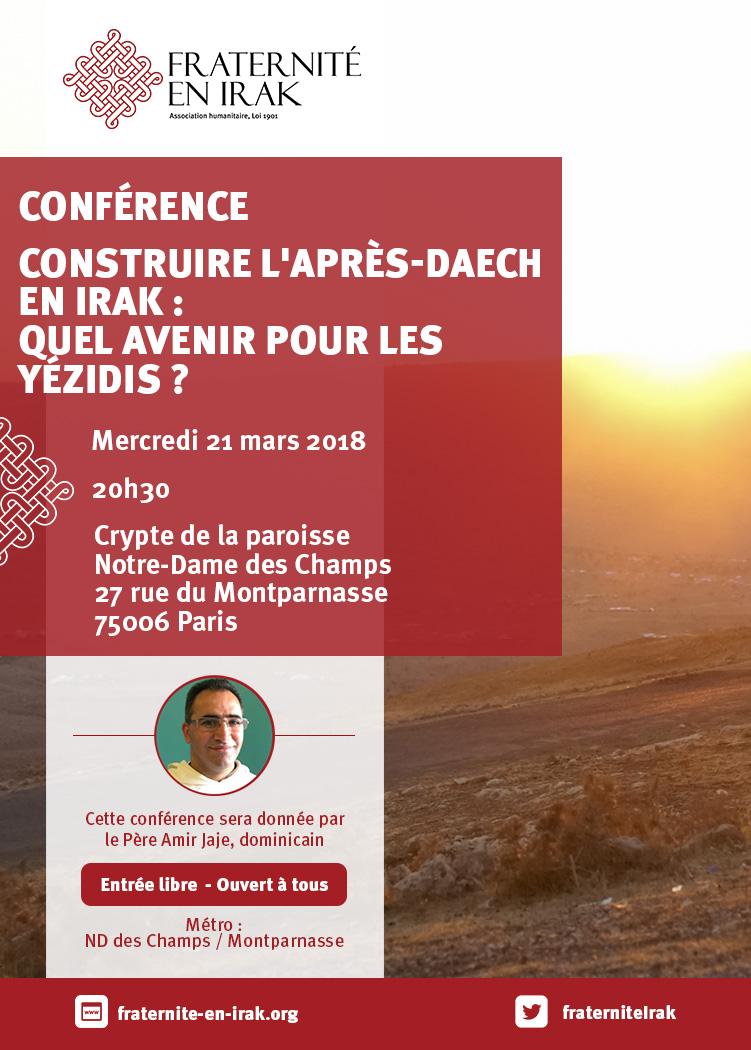 Construire l'après-Daech en Irak : quel avenir pour les Yézidis ? Conférence le 21 mars à Paris