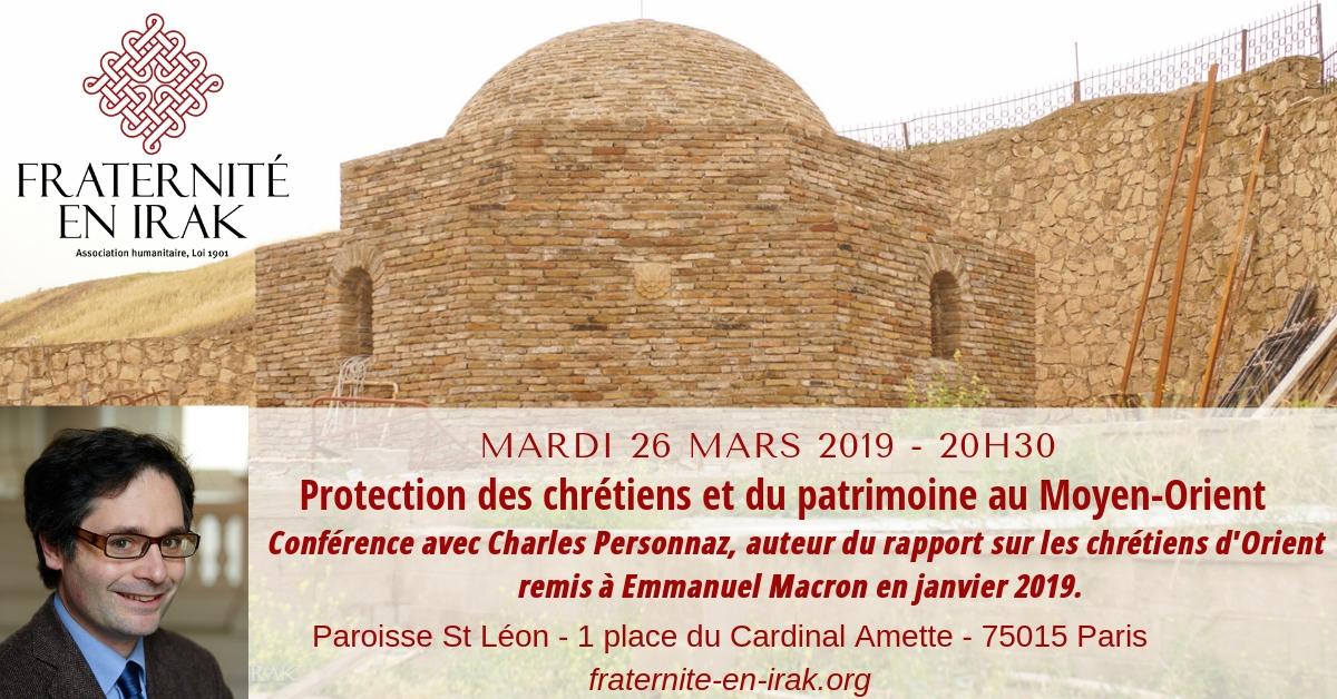 26 mars – Paris : Conférence avec Charles Personnaz, auteur du rapport sur les chrétiens d'Orient remis à Emmanuel Macron.