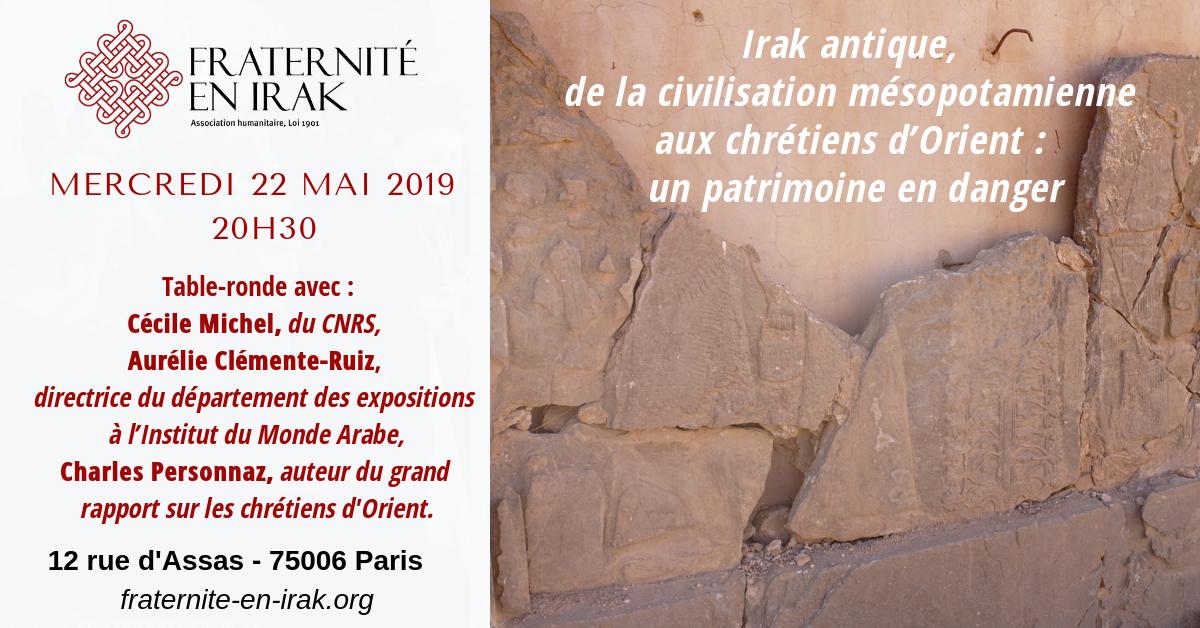 22 mai – Paris : table-ronde «Irak antique, un patrimoine en danger»