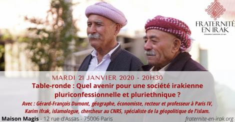 ANNULE : Mardi 21 janvier – Paris : Table-ronde «Quel avenir pour une société irakienne pluriconfessionnelle et pluriethnique ?»